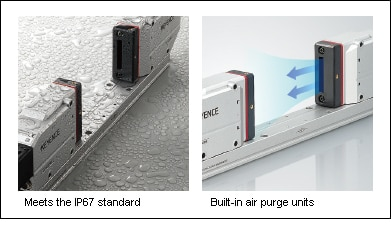 Meets the IP67 standard/Built-in air purge units